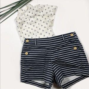 J Crew Nautical Blue and White Striped Shorts